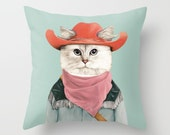 Rodeo Cat THROW PILLOW, Country Western, Teal Decor