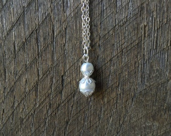 White Pearl Necklace Bridal Necklace Filigree Petal Pendant Necklace on Silver or Gold Chain