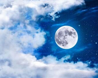 Full Moon Print, Moon Print, Moon Photo, Full Moon Picture, Star Photo, Star Moon Print, Nursery Print, Nursery Decor, Moon Theme