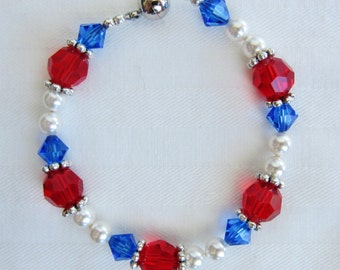 Red, White and Blue Crystal & Pearl Bracelet