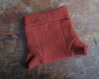 Rust Orange Merino Wool Diaper Cover Shorties size Newborn/0-3 months