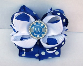 University of Kentucky, UK Hair Bow, Wildcats, Kentucky Wildcats, UK Bow, Wildcats Hair Bow, Blue and White Bow, Kentucky Football, UK Spots