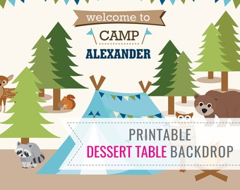 Boys Camping Party Printable BACKDROP - Dessert Table Backdrop - Camp Out Backdrop - Instant Download - Edit File at home with Adobe Reader