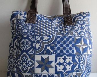 Canvas Bag, Ikat bag blue Azuleijos