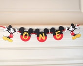 "1st Birthday High Chair ""ONE"" Banner Mickey Mouse 1st Birthday Cake Smash by FeistyFarmersWife"