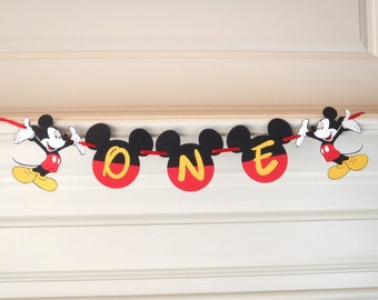 "Mickey Mouse 1st Birthday Banner ""ONE"" Mickey Mouse 1st Birthday Decoration Party Decorations by FeistyFarmersWife"