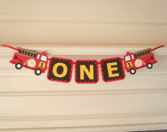 Fire Truck Party Birthday Banner  ONE 1st Birthday Banner High Chair Banner Fire Truck Birthday by FeistyFarmersWife