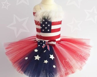 USA TUTU DRESS, Toddler, Girls, Pageant, American Flag, Memorial Day, 4th of July, Outfit, Red White Blue, Patriotic, Costume, Parade, Dance