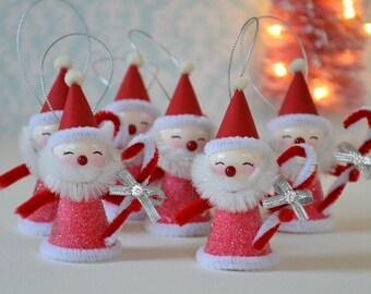 Spun Cotton Santa / Christmas Ornaments / Retro Style Ornament