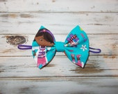 Doc Mcstuffins Inspired Fabric Bow Skinny Elastic Headband/Doc Fabric Hair Bow Headband/Infant, Toddler, Girls Large Bow Headband or Clip