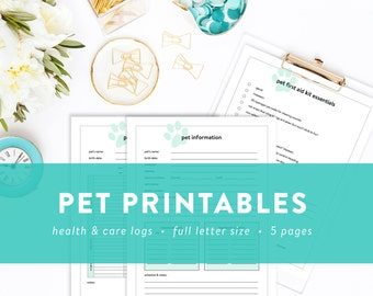 Pet Printables - Pet Information, Pet Sitter Note, Health History, and First Aid Checklist - INSTANT DOWNLOAD