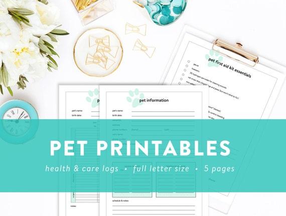 pet printables pet information pet sitter note health