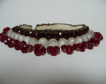 Victorian Handmade Ruby Red and Frosted Glass Beads Chocker Necklace