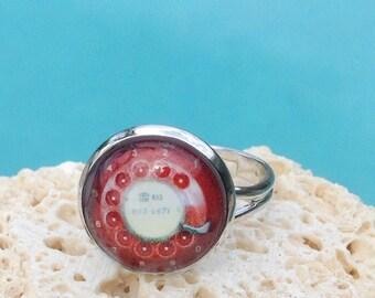 Vintage phone art ring, telephone ring, telephone jewelry, phone ring, phone jewelry, vintage phone, rotary phone, Ring #HG118R