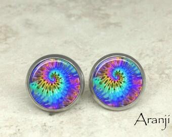 Tie dye swirl stud earrings, tie dye earrings, spiral earrings, spiral stud earrings, swirl earrings, tie dye post earrings PA161E