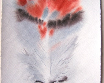 Feather painting in gray and tangerine/ Watercolor art original. Abstract feather illustration 7,5x11/ Home decor/ Birthday gift for him