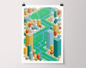 Isometric Cities 001 – Giclée Print – Unframed