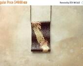 ON SALE Dark Brown Gold Copper Leather Bib Statement Necklace | Handmade Fashion Statement Jewelry