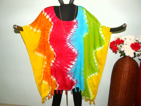 Tie Top Curtains South Africa: TIE DYE ZIGZAG Tunic In Bright Colors Yellow Orange Red