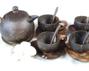 Handmade Coconut Shell Set of Teapot and Teacups