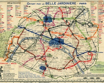 Early 20th century train routes of Paris France, reproduction print, Map of Paris, Belle Jardiniere,