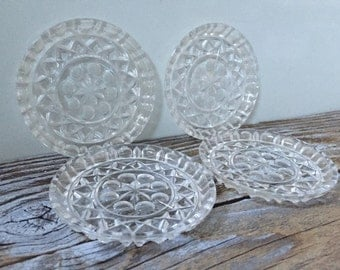 4 Vintage Glass Coasters