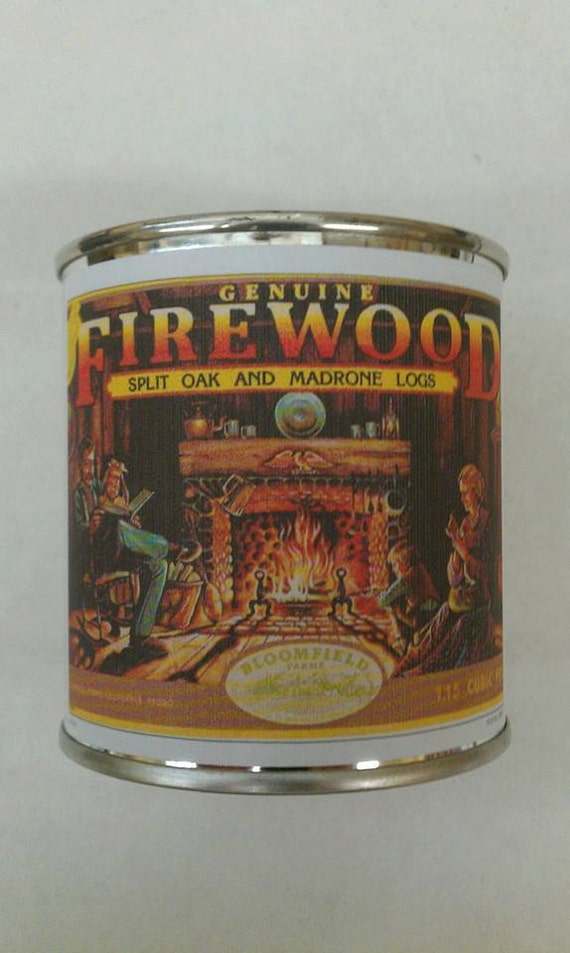 FIREWOOD -  Vintage Label Mini Wood Burning Fireplace Candle 8 oz. - Free Shipping in USA