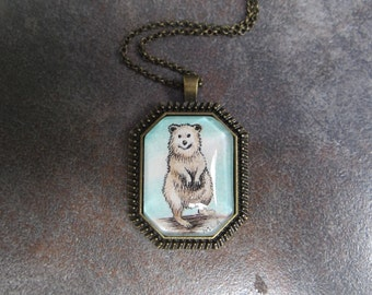 Tiny original Quokka necklace Hand painted original art