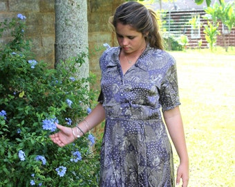 Vintage Lovely Dress, Soft Satin, Eggplant Purple & Silver Color