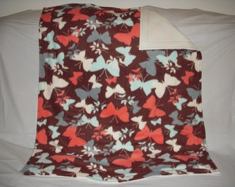 Pet Blanket - lovely pastel colored butterfly print fleece with solid ivory fleece on the reverse side.