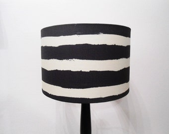 Striped lampshade, white and black lampshade, modern drum lampshade, linen white and black lampshade