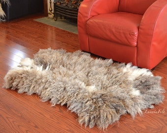 "Cute sheep - OOAK large handmade wool felt fur rug from natural sheep and alpaca wool -pet and eco-friendly - 28""x48"" - to order only!"