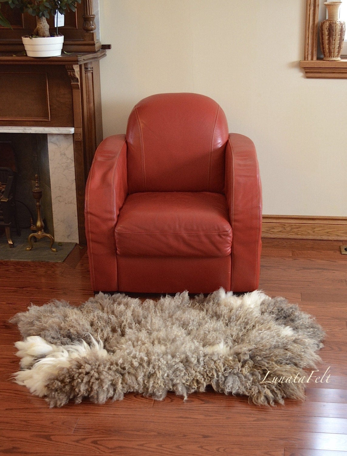 Cute Sheep   OOAK Large Handmade Wool Felt Fur Rug From Natural Sheep And Alpaca  Wool  Pet And Eco Friendly   28x48   To Order Only!