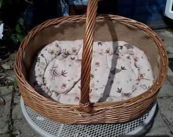 Pet Bed, Brown with printed Birdies  - Handmade