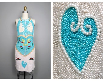 RARE Pearl Beaded Dress / Unique Heart Art Deco Pearl Embellished Pastel Blue Dress Medium