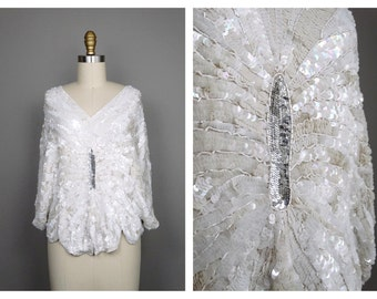 VTG Art Deco Sequined Blouse // White and Silver Heavily Embellished Sequin Beaded Butterfly Top -- HEAVY!!