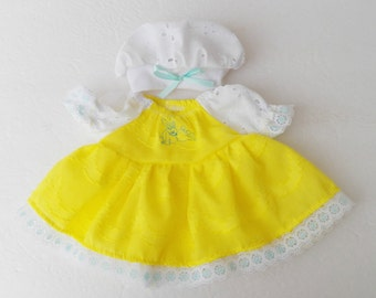 """bitty baby clothes handmade Twin Girl or Baby Doll 15"""" easter peasant dress tam Hat 2 pc yellow white embroidered bunny spring summer"""