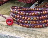 Handmade wrap bracelet with matte bronze iris copper czech glass beads