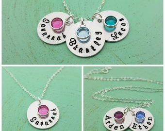 Hand Stamped Name Necklace - Personalized Necklace - Birthstone Necklace - Sterling Silver Necklace - Name Disc Necklace - Gift for Mom