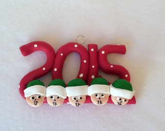 Polymer Clay Family 2015 Christmas Ornaments, Clay Famly Of Five Christmas Ornament, Clay Family Collectible