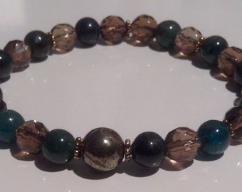 Smoky Quartz, Kyanite & Pyrite stretch bracelet