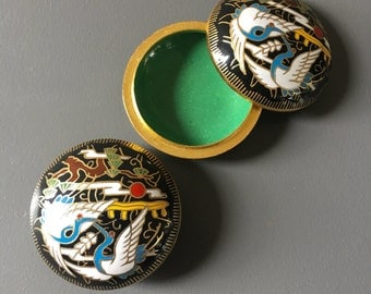 vintage cloisonne pill box brass chinoiserie cranes 2 available