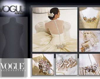 Vogue 7009 Bridal Accessories-Roses, Ring Pillow, Gift Bag, Corsage, Hair Ornament Sewing Pattern