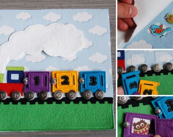 Quiet book page train with numbers