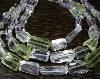 1/2 Strand-AA-Kunzite Big Size Step Cut Nuggets-Stones measure -7x9-16x8mm