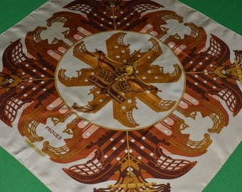 Authentic Vintage Hermes Silk Twill Scarf Proues Designed Philippe Ledoux