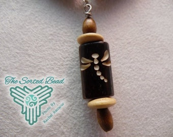 Dragonflies Bone and Wood with Pendant Free Domestic Shipping
