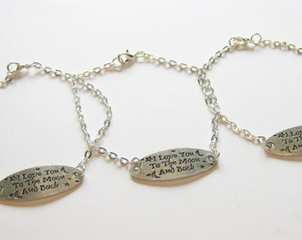 3 I Love You To The Moon And Back Best Friend Bracelets, Sisters Bracelets, Mother Daughter Bracelets, Three Best Friend Bracelets, BFF Gift