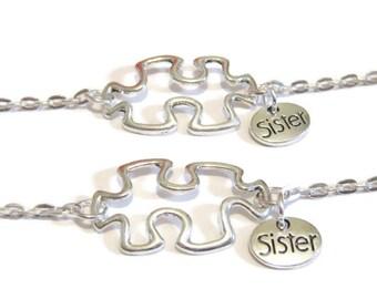 2 Sisters Puzzle Piece Bracelets