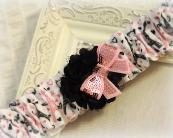 Garter for prom or wedding Paris themed prom Paris themed wedding Eiffel tower garter pink black Wedding garter prom garter